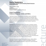 David Damrosch lecture flyer