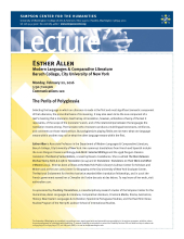 Esther Allen lecture flyer