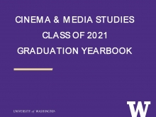 """White lettering """"Cinema & Media Studies Class of 2021 Graduation Yearbook"""" on purple background."""