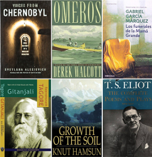 Covers of books by Nobel Prize winners