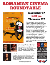 Romanian Film rountable discussion flyer